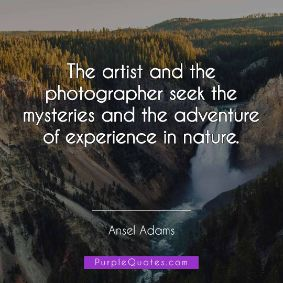 Ansel Adams Quote - The artist and the photographer seek the mysteries and the adventure of experience in nature. - PurpleQuotes.com.