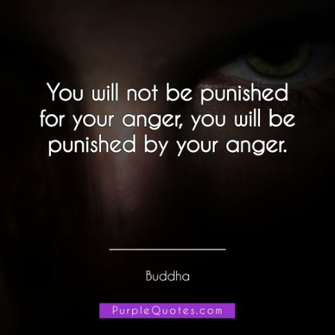 Buddha Quote - You will not be punished for your anger, you will be punished by your anger. - PurpleQuotes.com.