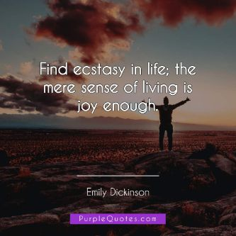 Emily Dickinson Quote - Find ecstasy in life; the mere sense of living is joy enough. - PurpleQuotes.com.