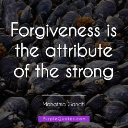 Mahatma Gandhi Quote - Forgiveness is the attribute of the strong - PurpleQuotes.com.